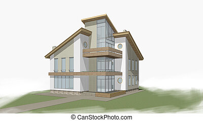 Private house - 3d rendering of modern private residential...