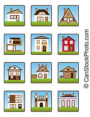 Private houses and homes icons set
