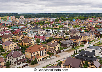 private houses in a suburban neighborhood, top view