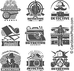 Private Investigator Labels Set - Isolated vintage detective...