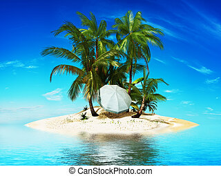 Private island, Paradise island with palms and a beach ...