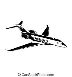 Private jet, airplane icon, vector illustration