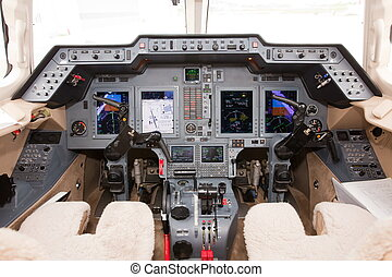 Private jet cockpit controls