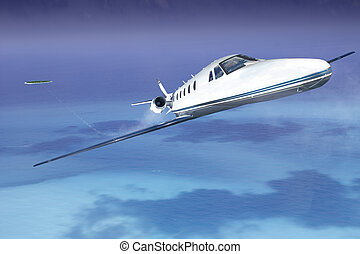Private jet plane in the blue sky with sea and island