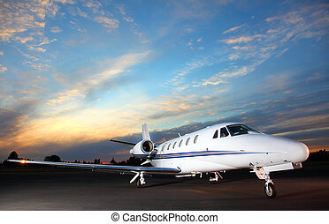 Private jet - Portrait of a corporate jet on the runway ...