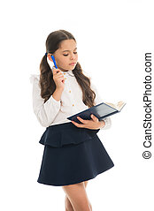 Private lesson. Adorable child schoolgirl. Formal education concept. School education basics. Coordinating process. Focused on education. KId girl student likes to study. Study in secondary school