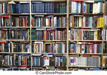 Private library. Wall from shelves filled with books.