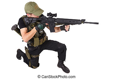 Private military contractor - rifleman with assault rifle