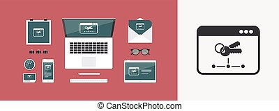 Private network - Vector flat minimal icon