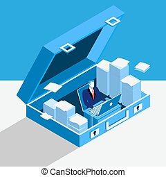 Private office concept vector illustration in flat style