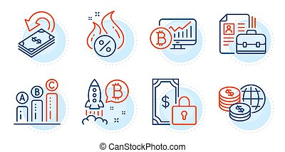 Private payment, Bitcoin project and Bitcoin chart icons set. Hot loan, Vacancy and Graph chart signs. Vector