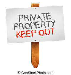 Private property, keep out wooden signpost isolated on white...