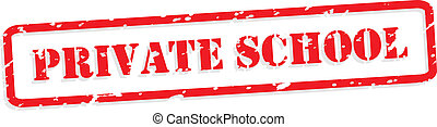 Private School Rubber Stamp Vector - Private school red...