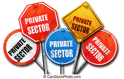 private sector, 3D rendering, rough street sign collection