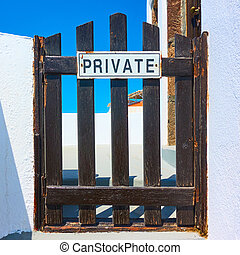 Private sign on a wicket - Private sign on small wooden...