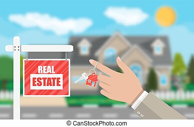 Real estate placard sign. Hand of agent with keys. Blurred background with private suburban house, trees, sun, road, sky and clouds. Real estate, sale and rent house. Vector illustration in flat style
