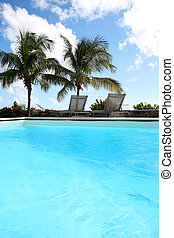 Private swimming pool in tropical area