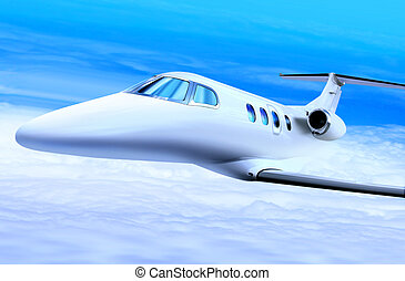 private white jet plane in the blue sky