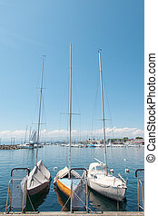 Private yachts docked in Lausanne Ouchy port, Switzerland on Lake Leman (Geneva Lake)