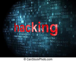 privatleben, concept:, hackend, auf, digitaler hintergrund