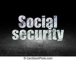 privatleben, concept:, sozialversicherung, in, grunge, dunkles zimmer