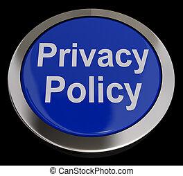 privatleben, politik, taste, in, blaues, ausstellung, der, firma, datenschutz, bedingungen