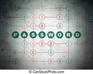 privatliv, concept:, lösenord, på, digital, data, papper, bakgrund