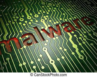 privatliv, concept:, malware, på, strømkreds planke,...