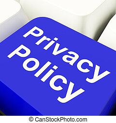privatliv, politik, computer nøgle, ind, blå, viser,...