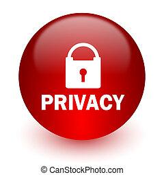 privatliv, rød, ikon computer, på hvide, baggrund