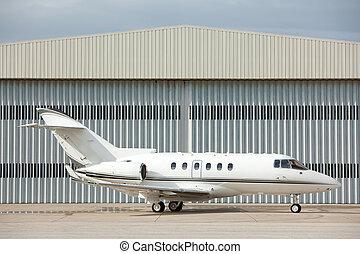 privato, parcheggiato, jet
