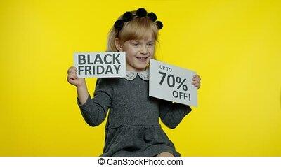 prix, 70, projection, girl, achats, fermé, noir, annonce, banners., bas, enfant, vendredi, haut, cent