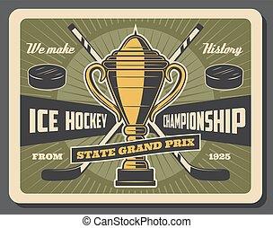 prix, bajnokság, jégkorong, jég, nagy