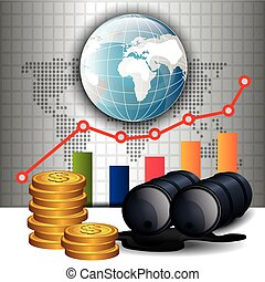 prix, huile, conception, infographic