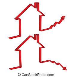 prix, logement, monter, 3d, automne