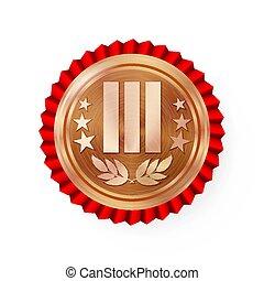 prize., 3st, sport, cerimonia, placement., vincitore, etichetta, bronzo, vector., rosso, rosette., distintivo, rosetta, campionato, premio, medaglia, realizzazione, trofeo, terzo, sfida, onore, realistico, posto, rotondo
