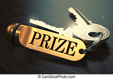 Prize - Bunch of Keys with Text on Golden Keychain. Black...