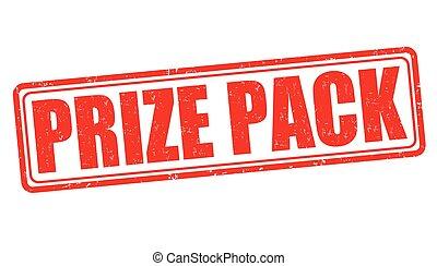 Prize pack grunge rubber stamp on white background, vector illustration