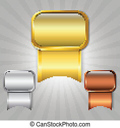 Prize ribbons - Gold, silver and bronze prize ribbons