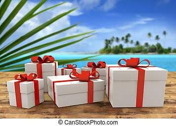 prize trip - set of gift packs on wooden table in tropical...