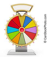 Prize wheel isolated on white background.
