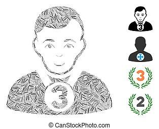 prizer, mosaico, 3, vector, icono, deportista, lineal