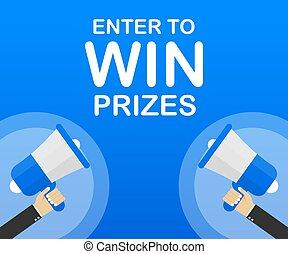 prizes., illustratie, binnengaan, hand, tekst, winnen, vector, handel concept, megafoon