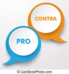 Colorful speech bubbles with text Pro and Contra. Eps 10 vector file.