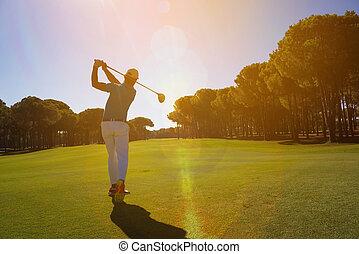 pro golf player shot ball