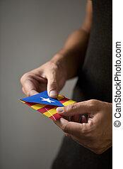 pro-independence, catalan, drapeau, enveloppe