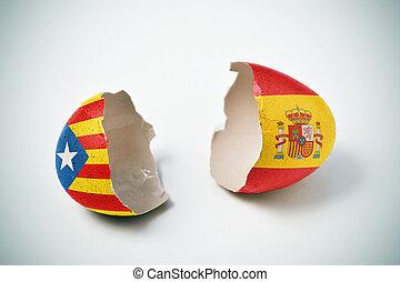 pro-independence, catalan, drapeau, espagnol
