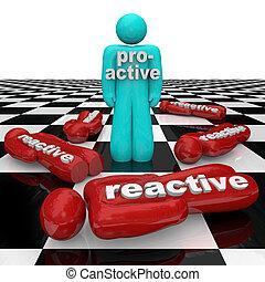 proactive, person, vinde, vs., reaktiv, inaktivitet, folk,...