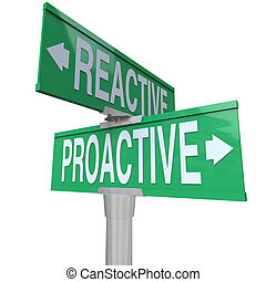 A two way green road sign with the words Proactive and Reactive making you choose between a life of taking charge and action toward meeting your goals or being passive and not achieving success
