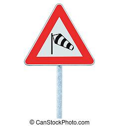 probabilmente, traffico, windsock, polo, cornice, croce, sidewind, palo, strada, pericolo, signage, isolato, icona, segno, roadsign, signpost, avanti, calzino, avvertimento, azzardo, venti, rosso, improvviso, lato, crosswinds, volare, triangolo